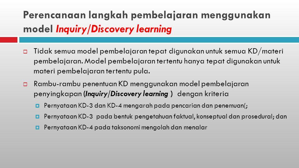 Perencanaan langkah pembelajaran menggunakan model Inquiry/Discovery learning