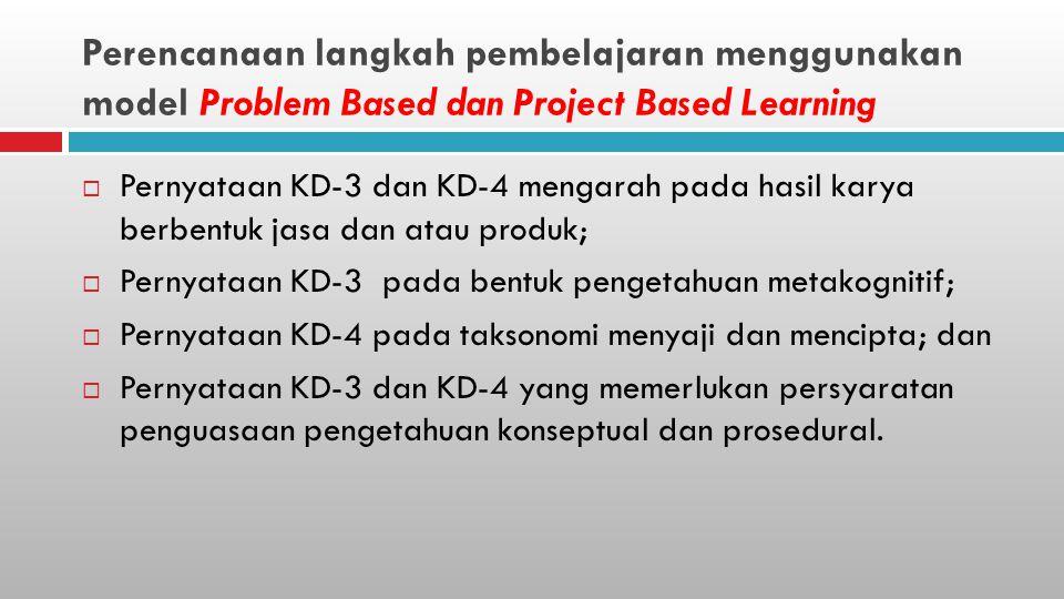 Perencanaan langkah pembelajaran menggunakan model Problem Based dan Project Based Learning