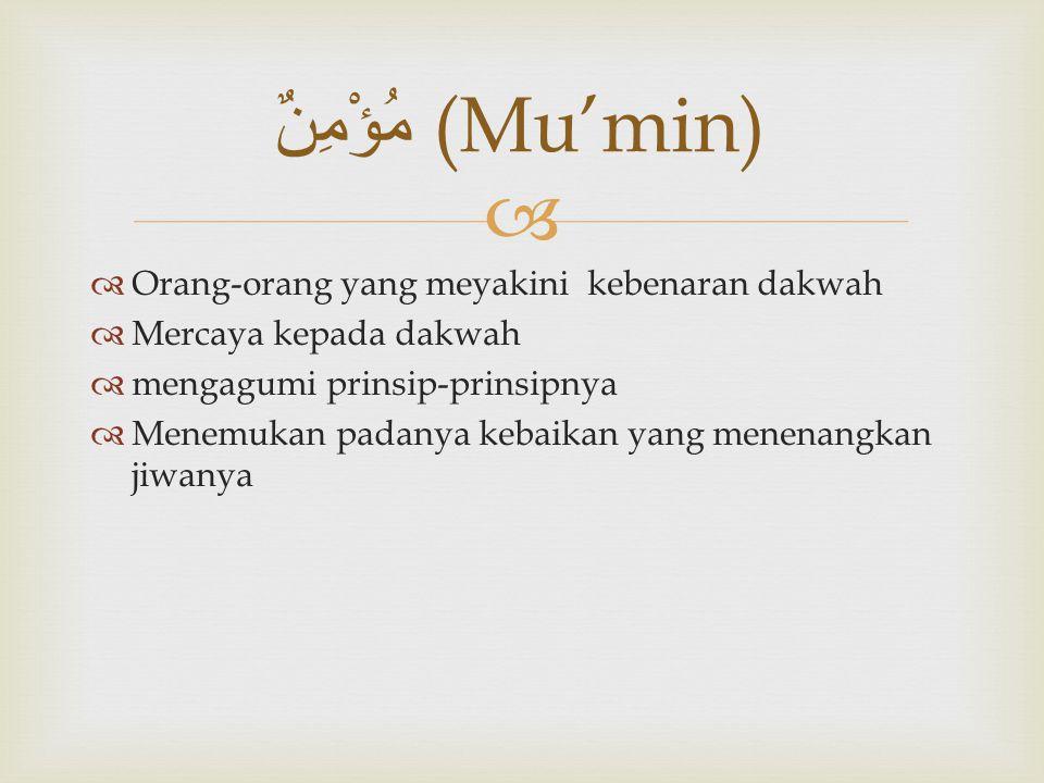 مُؤْمِنٌ (Mu'min) Orang-orang yang meyakini kebenaran dakwah