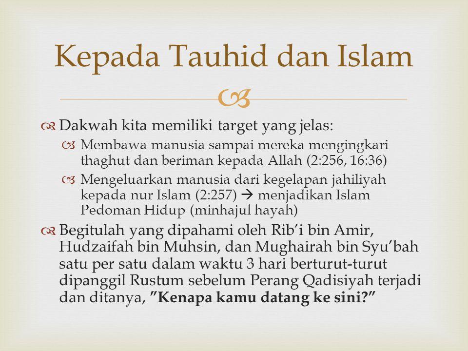Kepada Tauhid dan Islam