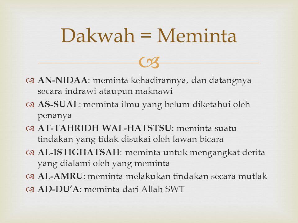 Dakwah = Meminta AN-NIDAA: meminta kehadirannya, dan datangnya secara indrawi ataupun maknawi.