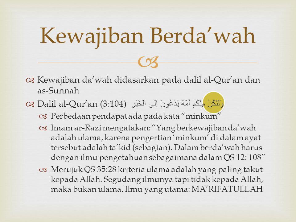 Kewajiban Berda'wah Kewajiban da'wah didasarkan pada dalil al-Qur'an dan as-Sunnah.
