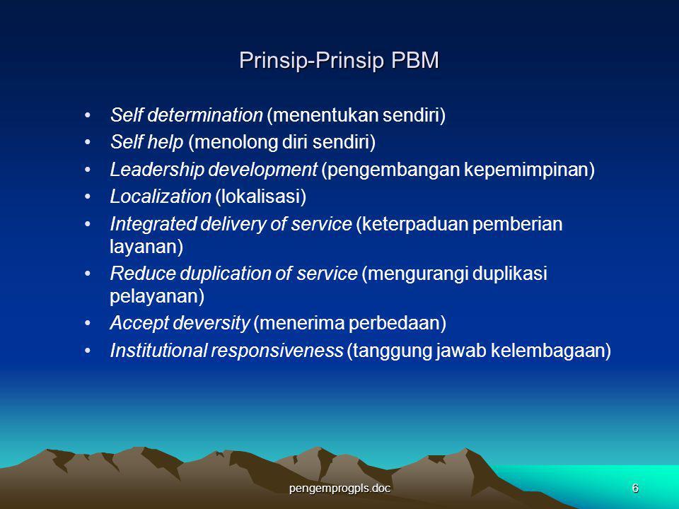 Prinsip-Prinsip PBM Self determination (menentukan sendiri)