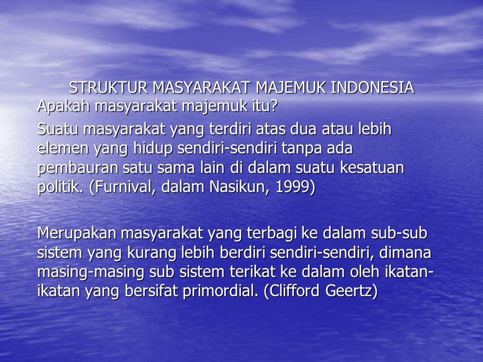 STRUKTUR MASYARAKAT MAJEMUK INDONESIA
