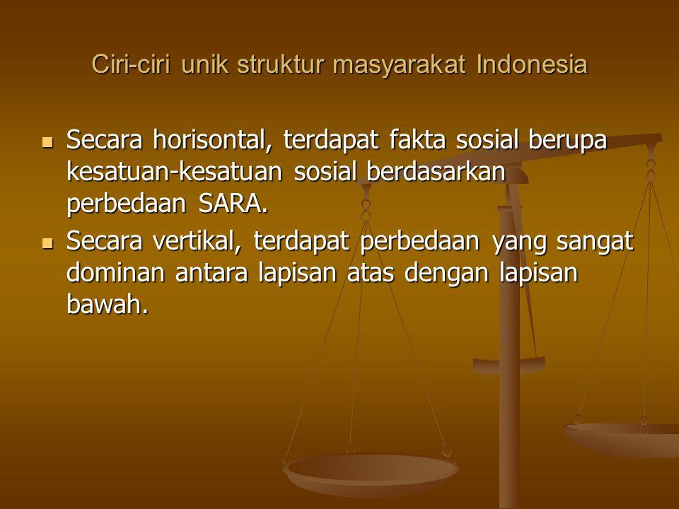Ciri-ciri unik struktur masyarakat Indonesia