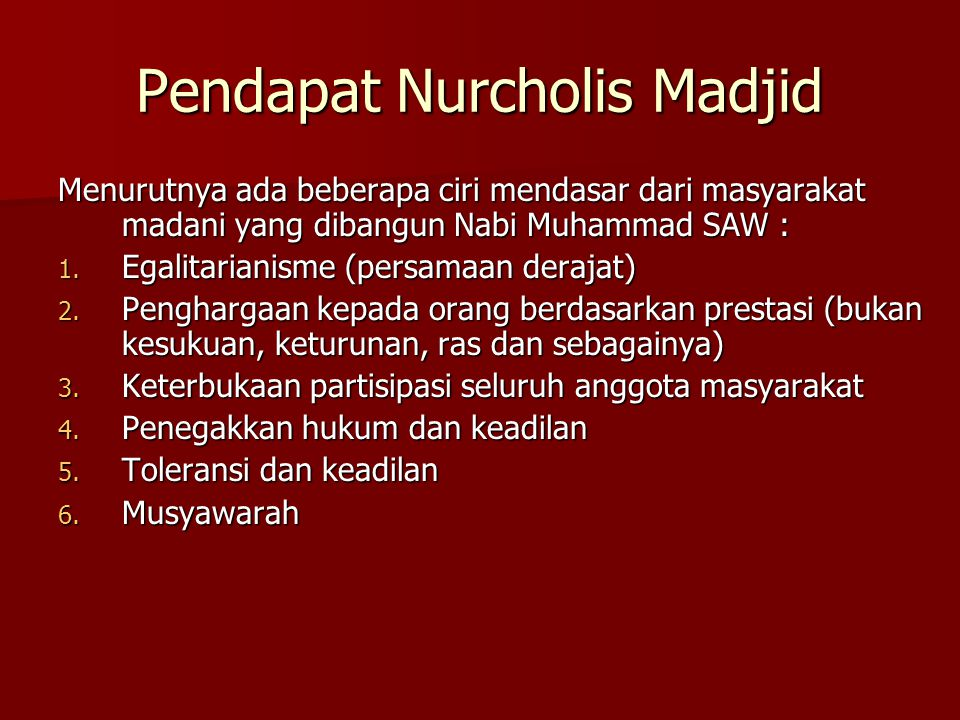 Pendapat Nurcholis Madjid