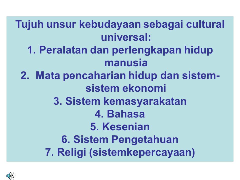 Tujuh unsur kebudayaan sebagai cultural universal:
