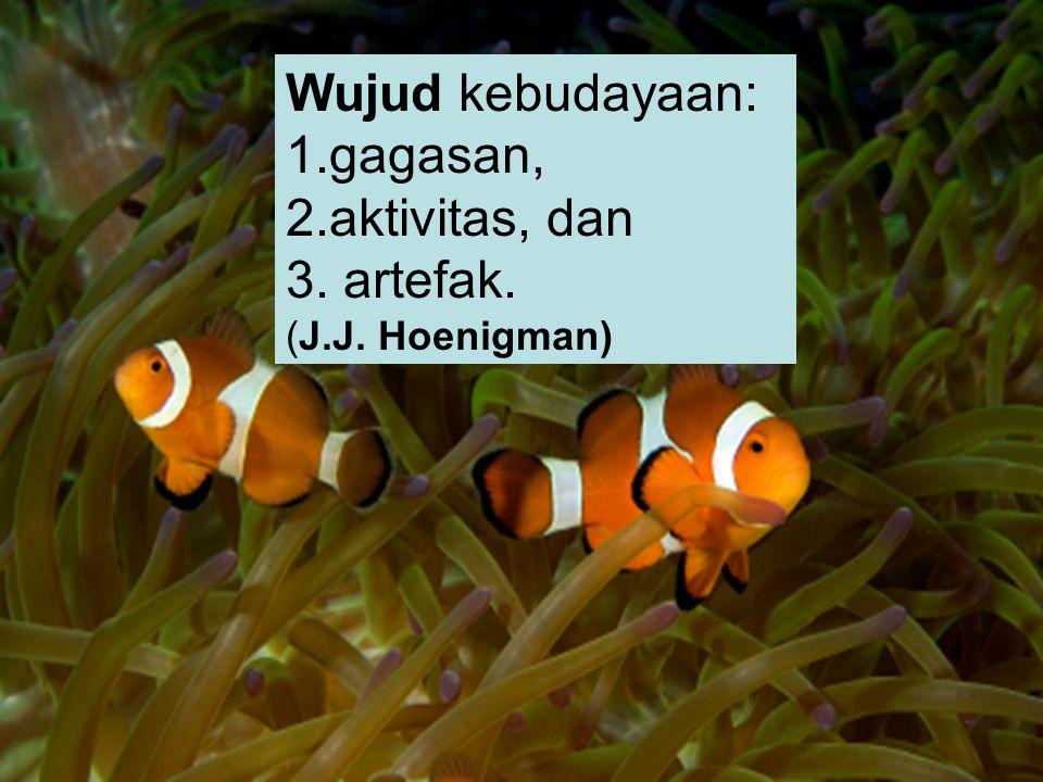 Wujud kebudayaan: gagasan, aktivitas, dan artefak. (J.J. Hoenigman)