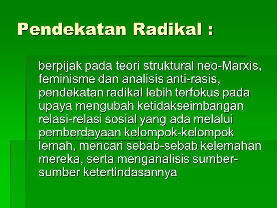 Pendekatan Radikal :