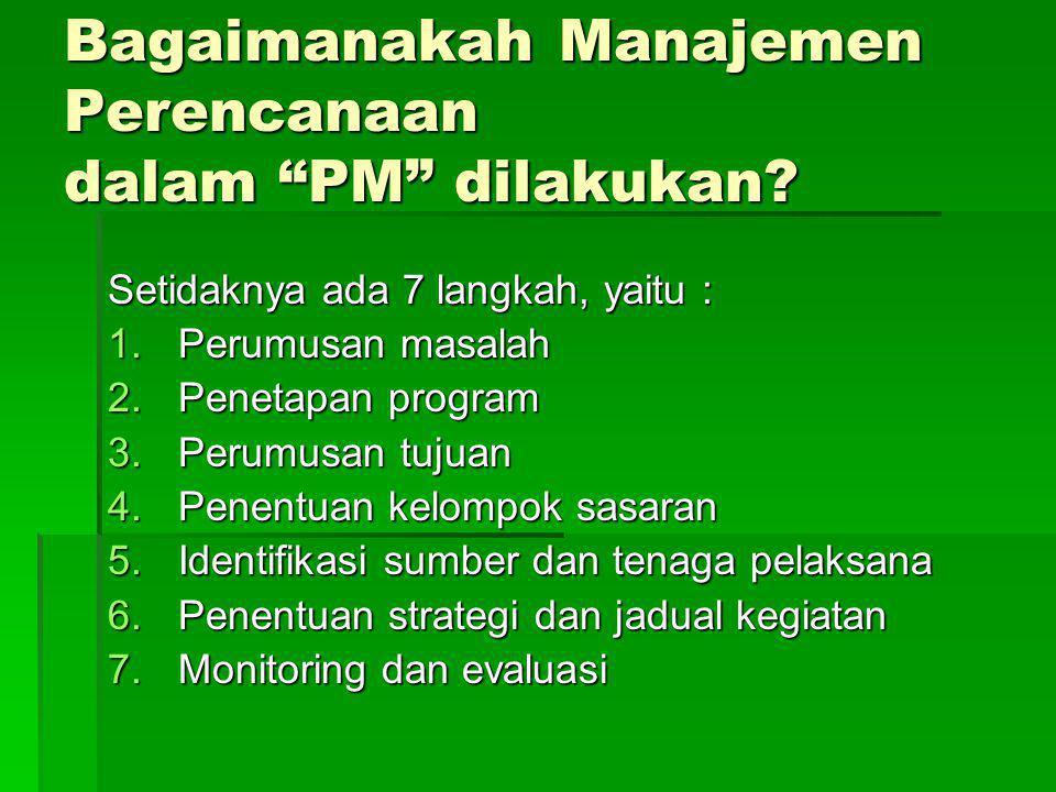 Bagaimanakah Manajemen Perencanaan dalam PM dilakukan