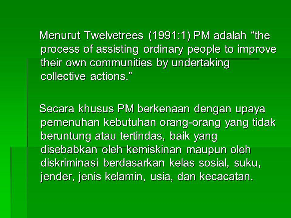 Menurut Twelvetrees (1991:1) PM adalah the process of assisting ordinary people to improve their own communities by undertaking collective actions.