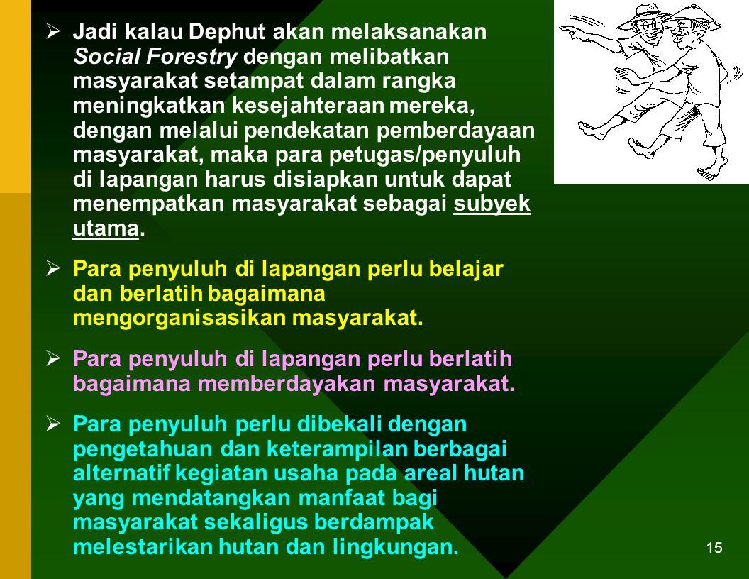 Jadi kalau Dephut akan melaksanakan Social Forestry dengan melibatkan masyarakat setampat dalam rangka meningkatkan kesejahteraan mereka, dengan melalui pendekatan pemberdayaan masyarakat, maka para petugas/penyuluh di lapangan harus disiapkan untuk dapat menempatkan masyarakat sebagai subyek utama.
