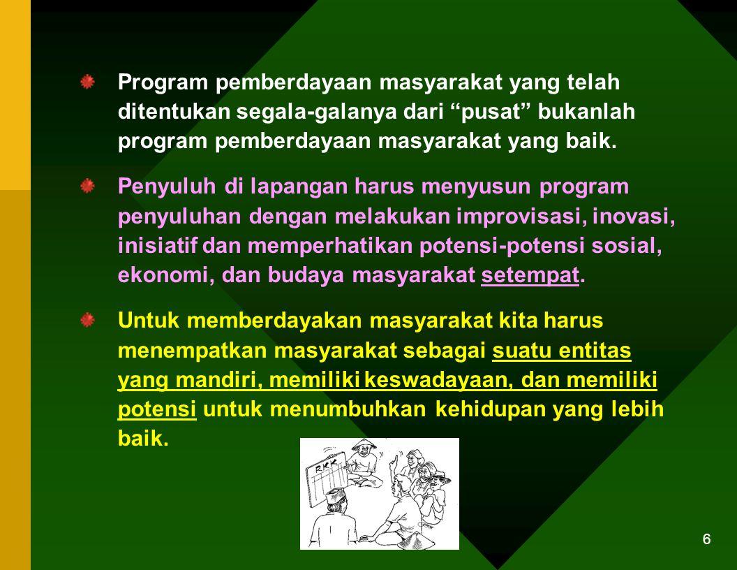 Program pemberdayaan masyarakat yang telah ditentukan segala-galanya dari pusat bukanlah program pemberdayaan masyarakat yang baik.