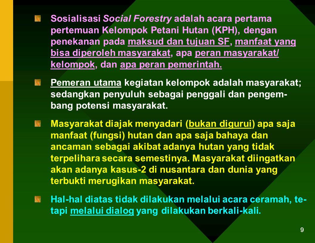Sosialisasi Social Forestry adalah acara pertama pertemuan Kelompok Petani Hutan (KPH), dengan penekanan pada maksud dan tujuan SF, manfaat yang bisa diperoleh masyarakat, apa peran masyarakat/ kelompok, dan apa peran pemerintah.