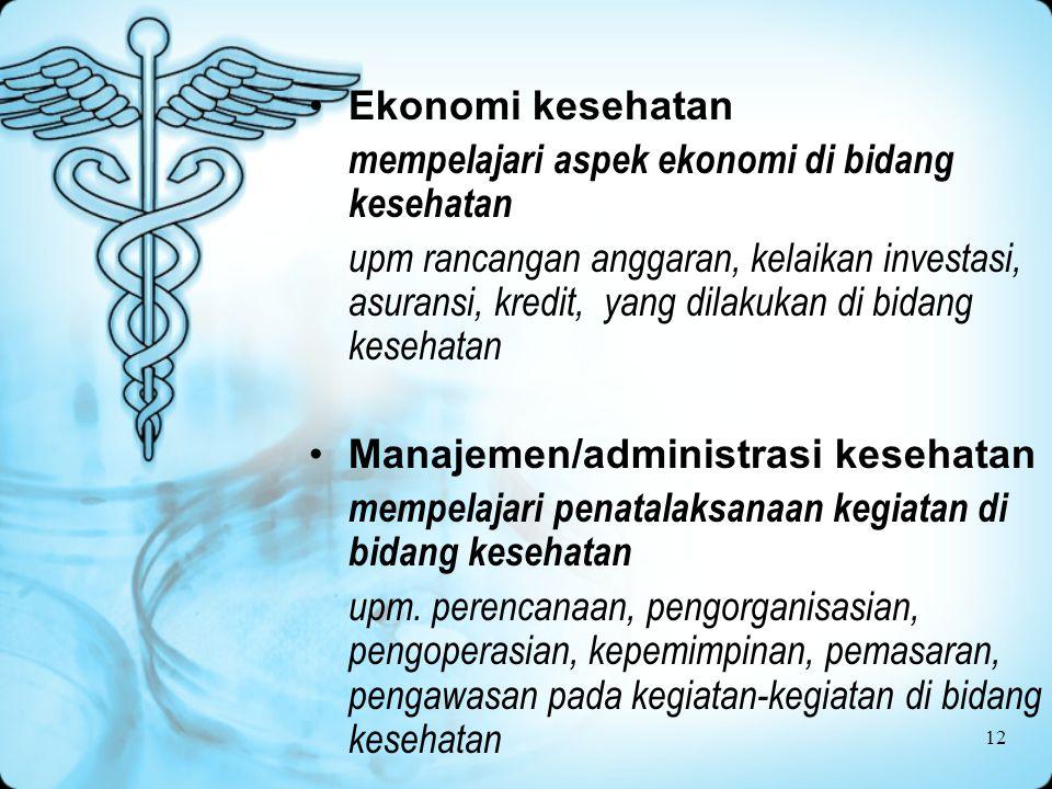 Ekonomi kesehatan mempelajari aspek ekonomi di bidang kesehatan.