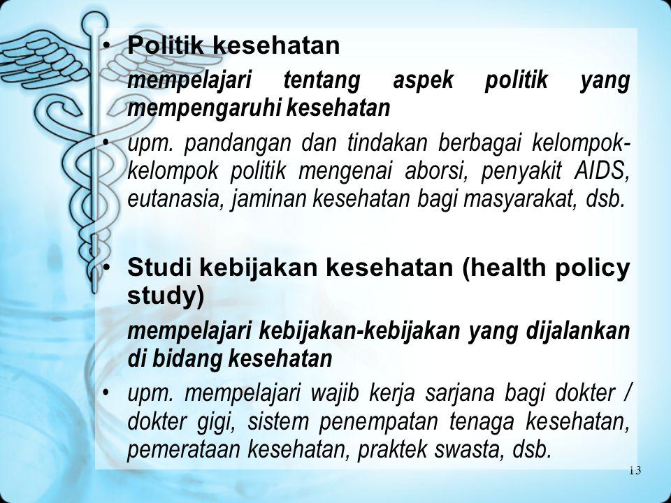 Politik kesehatan mempelajari tentang aspek politik yang mempengaruhi kesehatan.