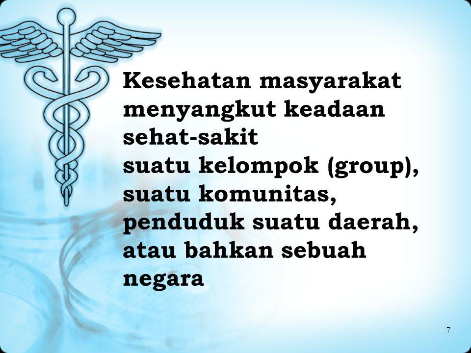 Kesehatan masyarakat menyangkut keadaan sehat-sakit suatu kelompok (group), suatu komunitas, penduduk suatu daerah, atau bahkan sebuah negara