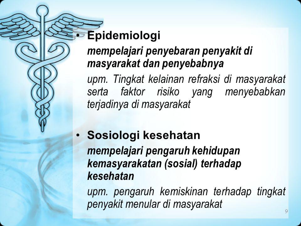 Epidemiologi mempelajari penyebaran penyakit di masyarakat dan penyebabnya.