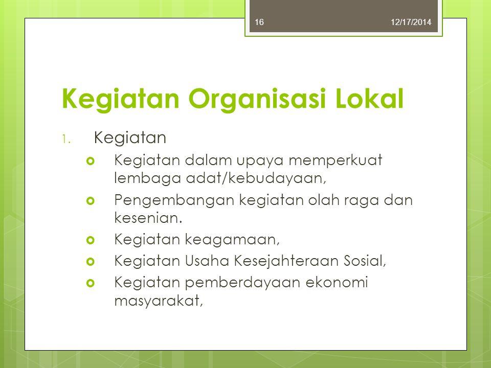 Kegiatan Organisasi Lokal