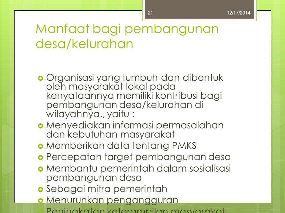 Manfaat bagi pembangunan desa/kelurahan