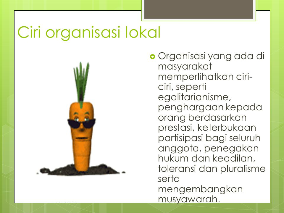 Ciri organisasi lokal