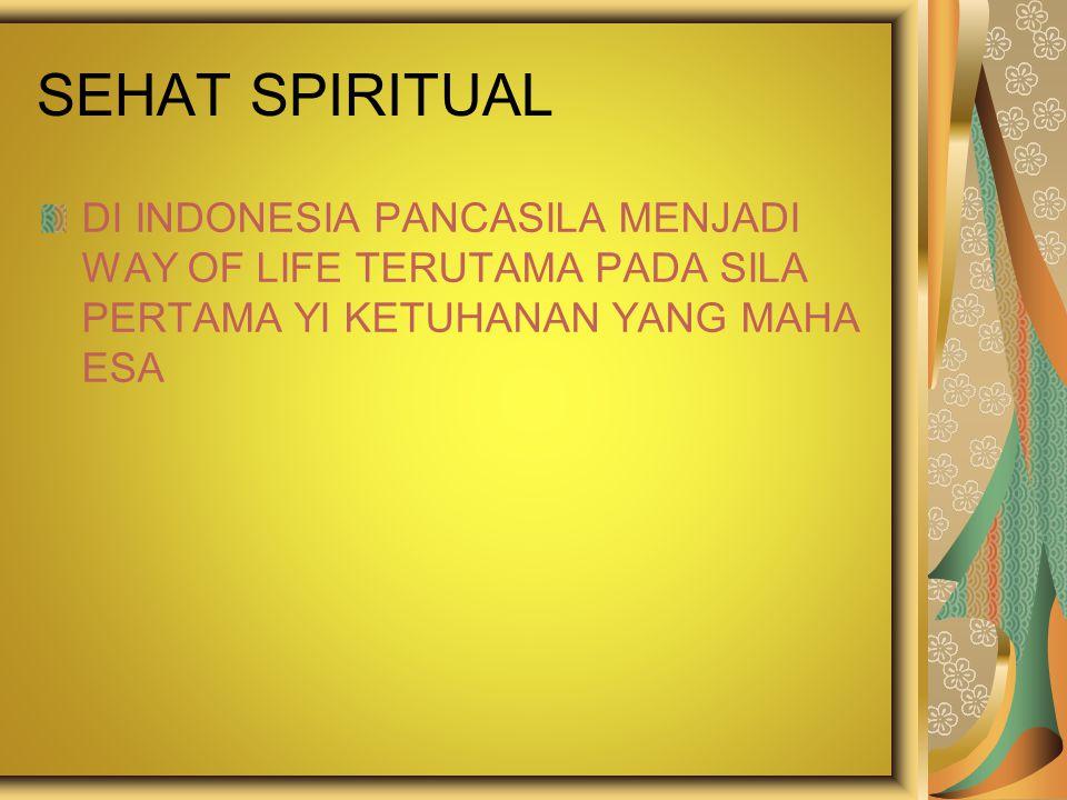 SEHAT SPIRITUAL DI INDONESIA PANCASILA MENJADI WAY OF LIFE TERUTAMA PADA SILA PERTAMA YI KETUHANAN YANG MAHA ESA.