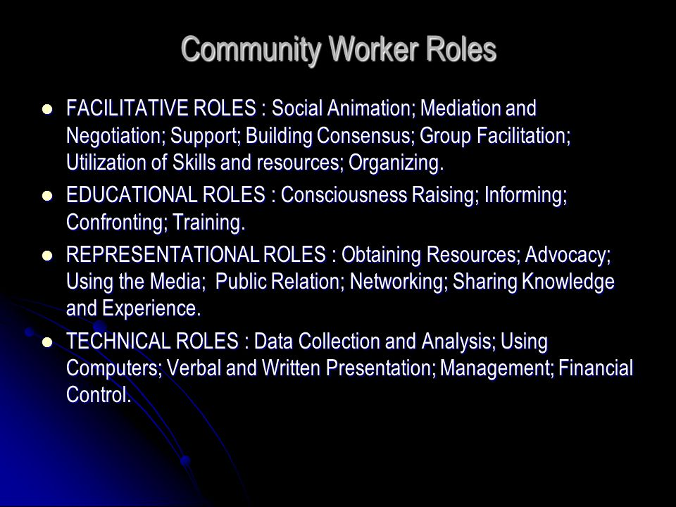 Community Worker Roles