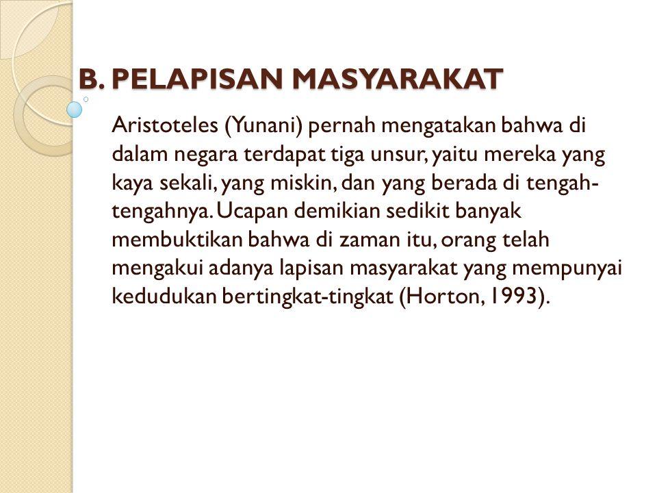 B. PELAPISAN MASYARAKAT