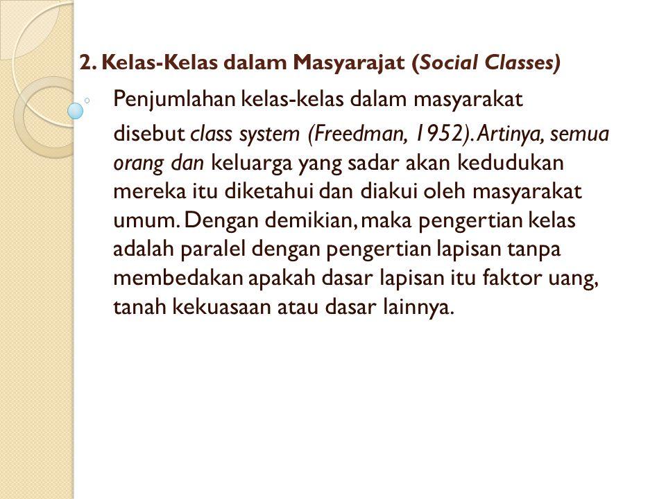 2. Kelas-Kelas dalam Masyarajat (Social Classes)