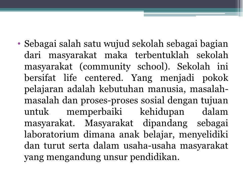 Sebagai salah satu wujud sekolah sebagai bagian dari masyarakat maka terbentuklah sekolah masyarakat (community school).