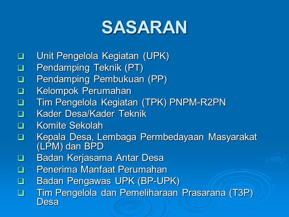 SASARAN Unit Pengelola Kegiatan (UPK) Pendamping Teknik (PT)