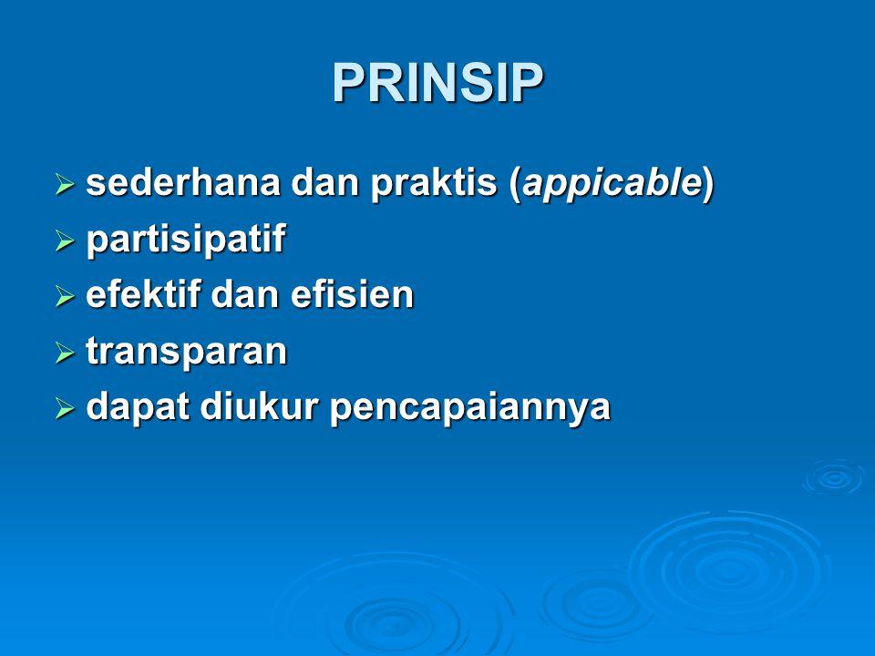 PRINSIP sederhana dan praktis (appicable) partisipatif