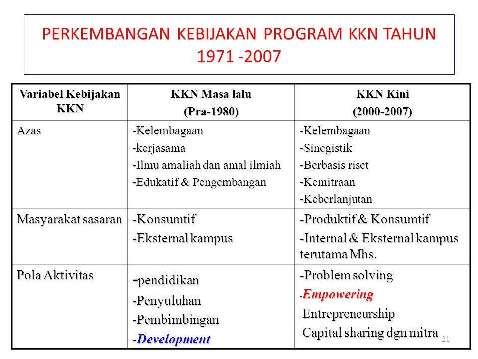 PERKEMBANGAN KEBIJAKAN PROGRAM KKN TAHUN 1971 -2007