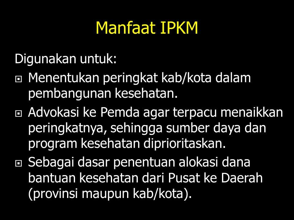 Manfaat IPKM Digunakan untuk: