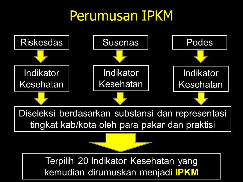 Terpilih 20 Indikator Kesehatan yang kemudian dirumuskan menjadi IPKM