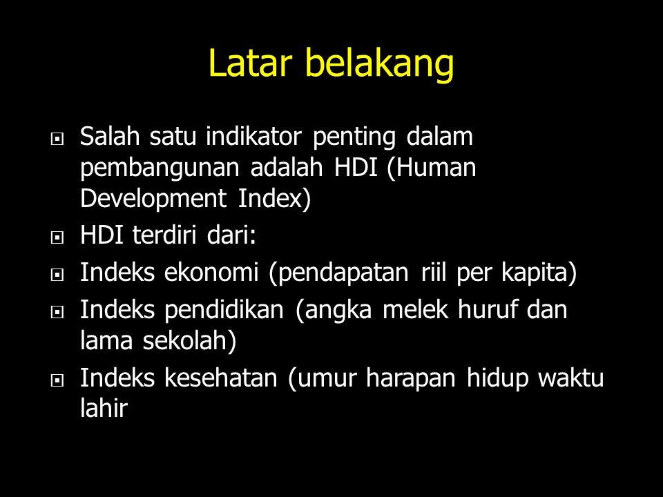 Latar belakang Salah satu indikator penting dalam pembangunan adalah HDI (Human Development Index) HDI terdiri dari: