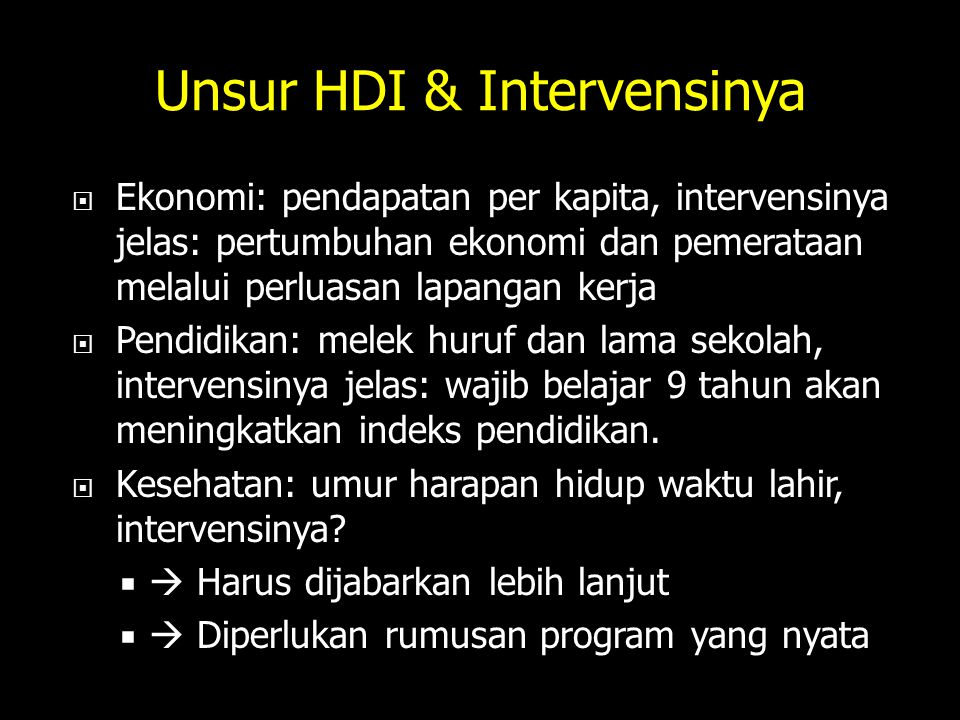 Unsur HDI & Intervensinya