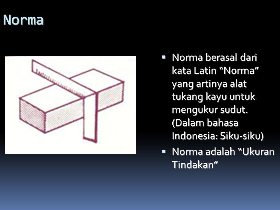Norma Norma berasal dari kata Latin Norma yang artinya alat tukang kayu untuk mengukur sudut. (Dalam bahasa Indonesia: Siku-siku)