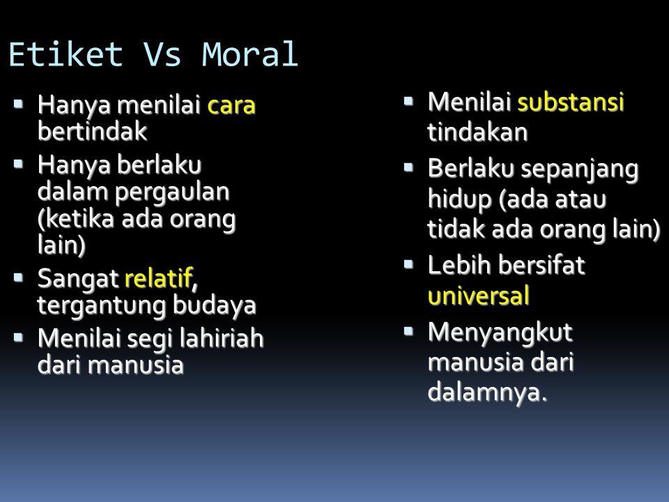 Etiket Vs Moral Menilai substansi tindakan