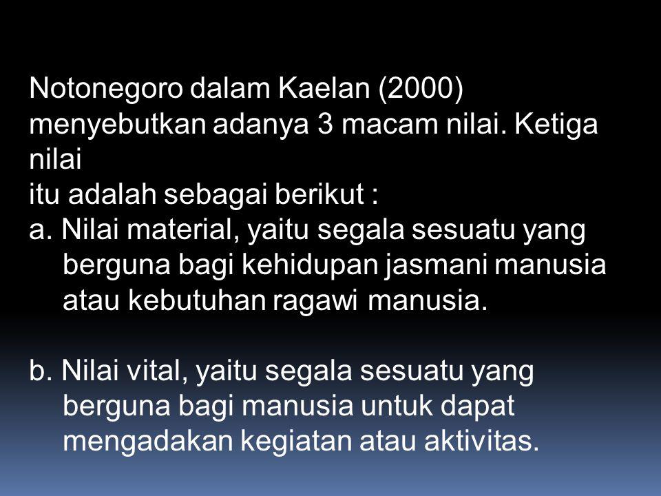 Notonegoro dalam Kaelan (2000) menyebutkan adanya 3 macam nilai
