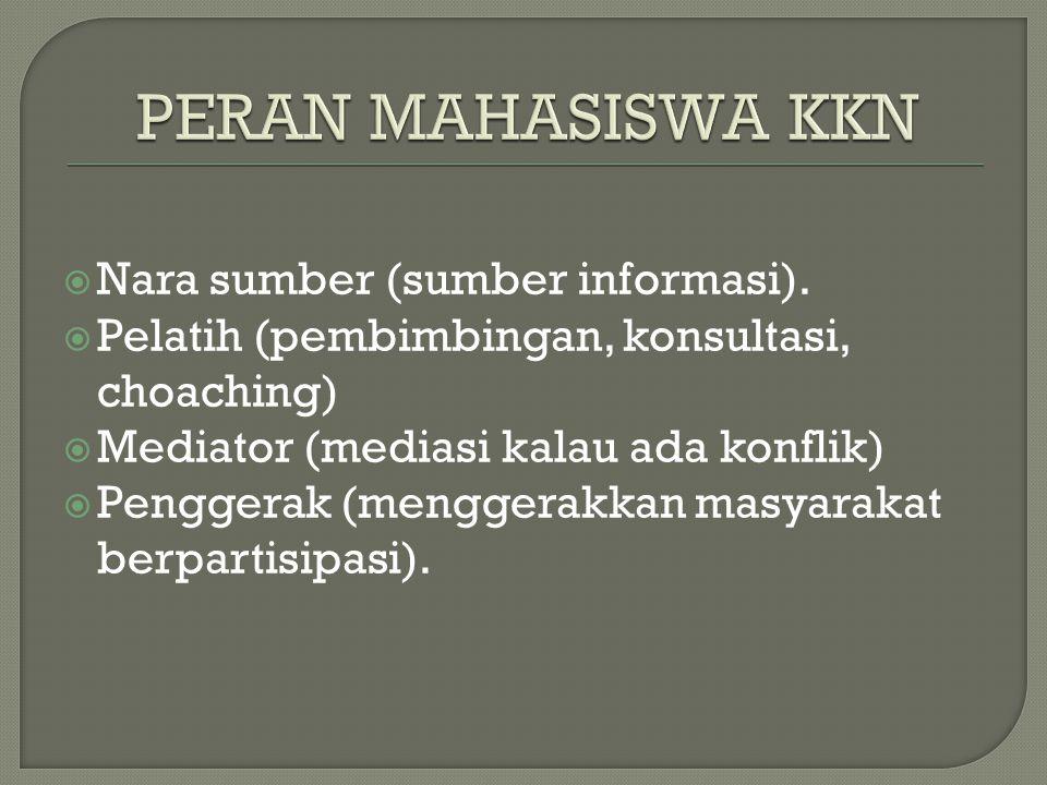 PERAN MAHASISWA KKN Nara sumber (sumber informasi).