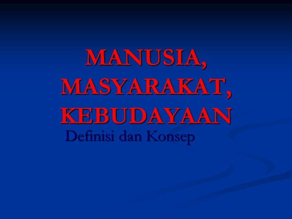 MANUSIA, MASYARAKAT, KEBUDAYAAN