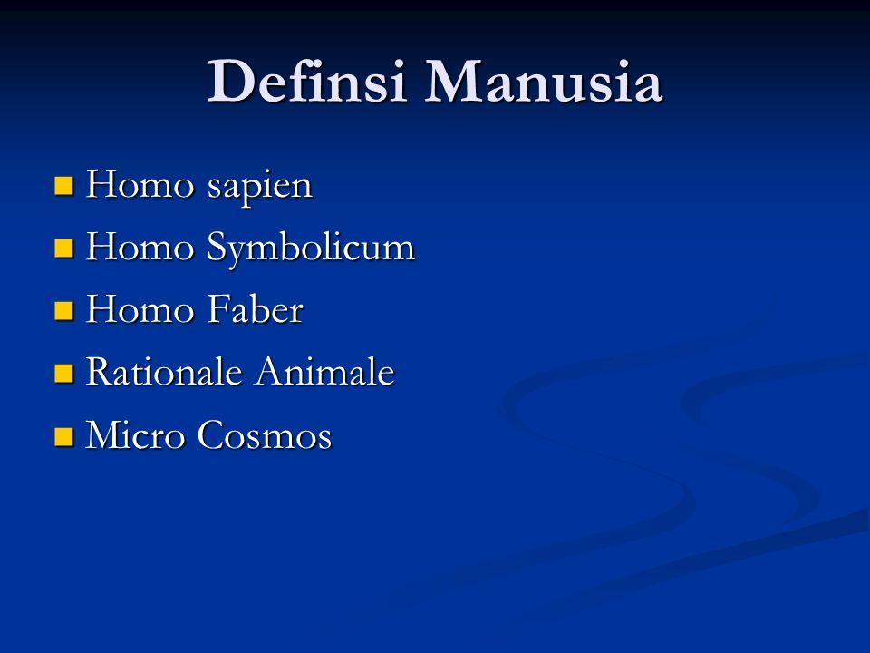 Definsi Manusia Homo sapien Homo Symbolicum Homo Faber