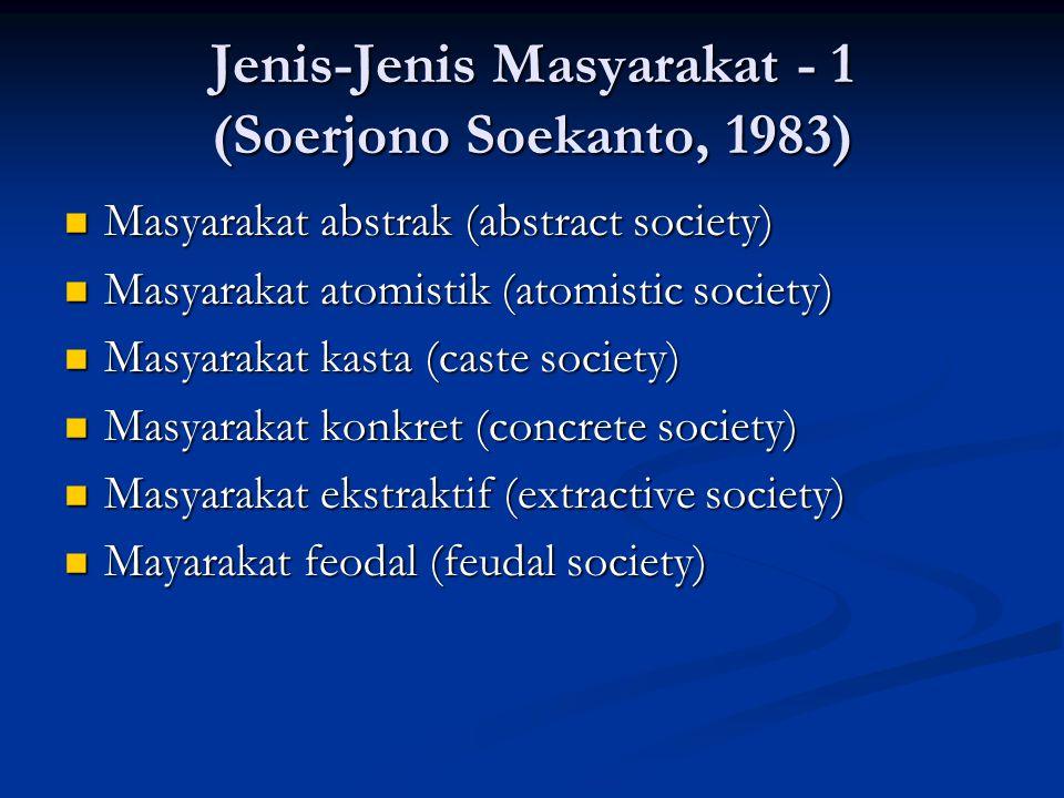 Jenis-Jenis Masyarakat - 1 (Soerjono Soekanto, 1983)