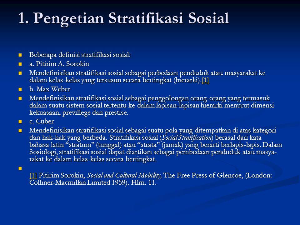 1. Pengetian Stratifikasi Sosial