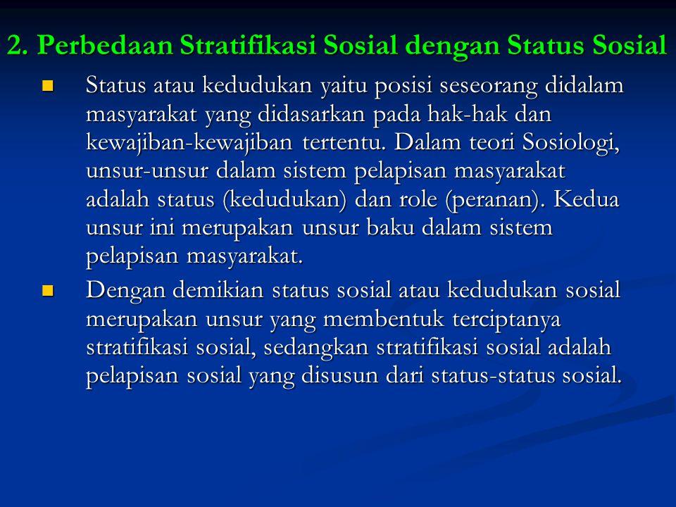 2. Perbedaan Stratifikasi Sosial dengan Status Sosial