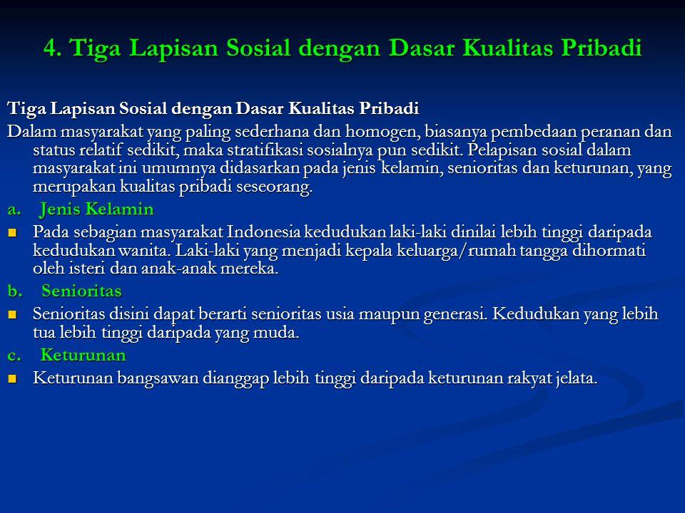 4. Tiga Lapisan Sosial dengan Dasar Kualitas Pribadi