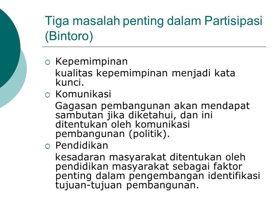 Tiga masalah penting dalam Partisipasi (Bintoro)