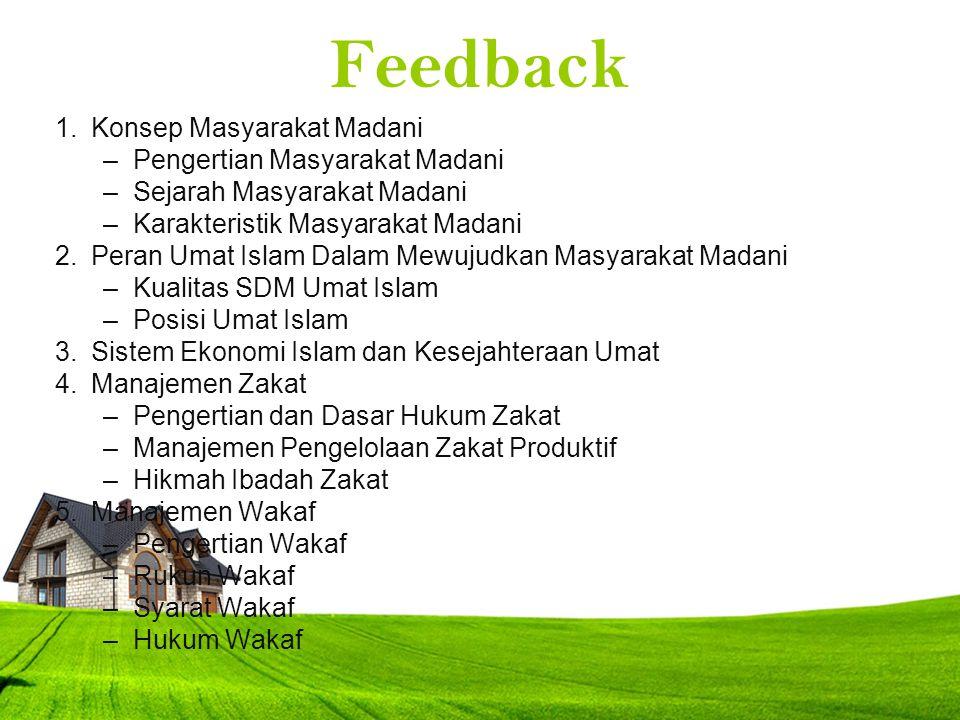 Feedback Konsep Masyarakat Madani Pengertian Masyarakat Madani