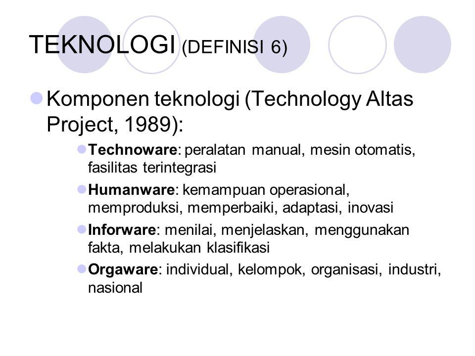 TEKNOLOGI (DEFINISI 6) Komponen teknologi (Technology Altas Project, 1989): Technoware: peralatan manual, mesin otomatis, fasilitas terintegrasi.